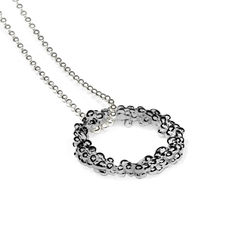 Organica Circle Pendant Necklace - Black Rhodium - product images 2 of 3