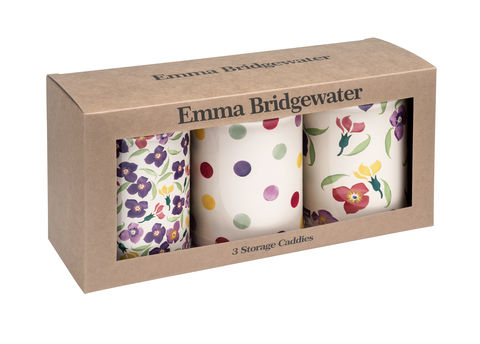EMMA,BRIDGEWATER,WALLFLOWER,SET,3,CADDIES,Emma_Bridgewater_Wallflower_Set_3_Caddies