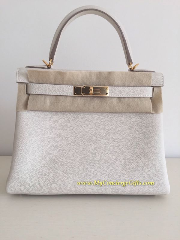 Hermes Kelly 28 cm veau togo craie with gold hardware - My ...