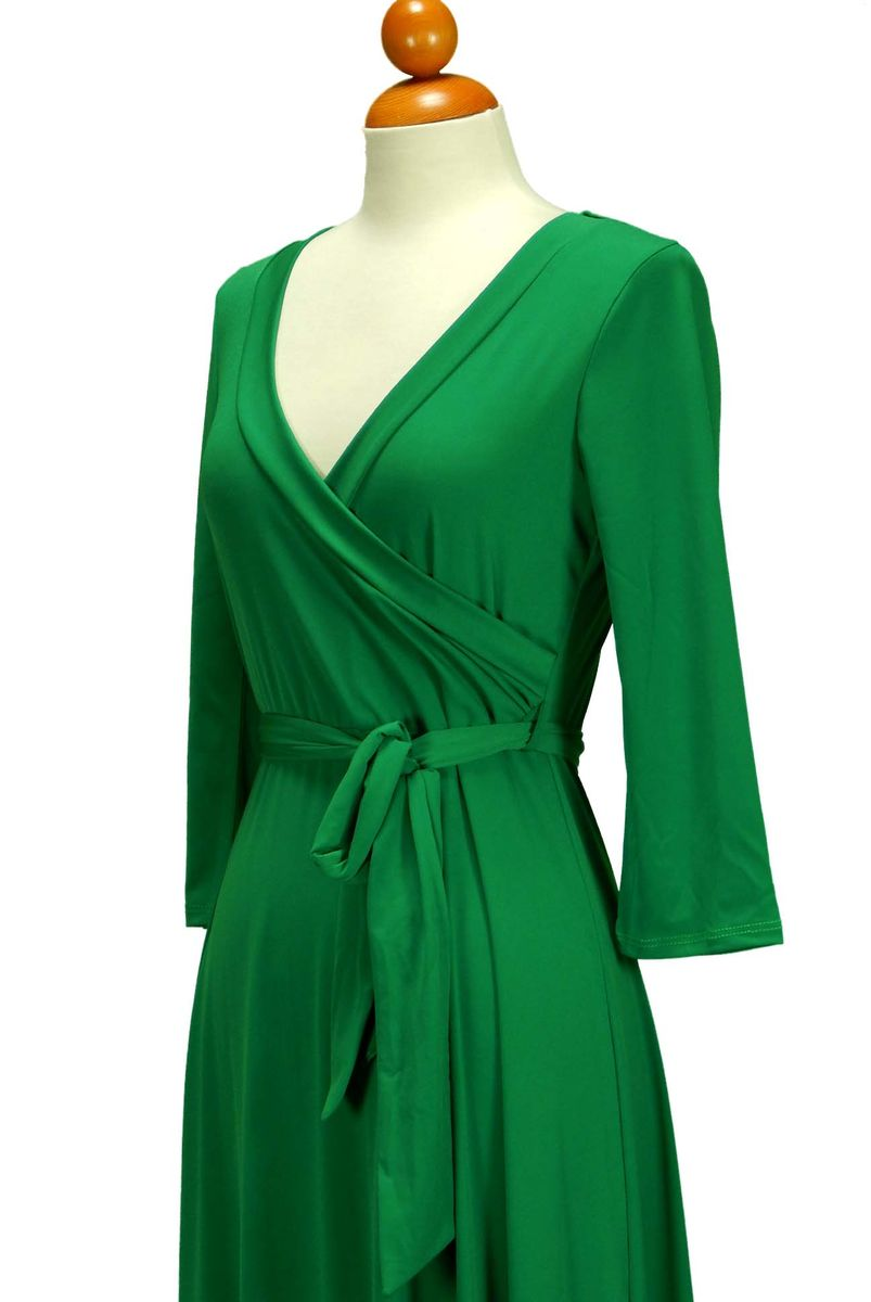 New green maxi wrap dress - Red Apparel online