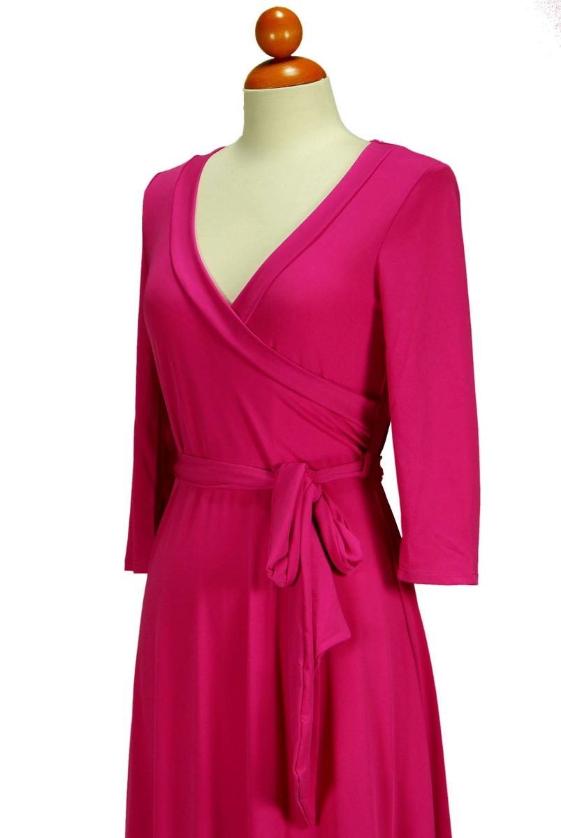 Janette fashion hot pink maxi wrap dress - Red Apparel online