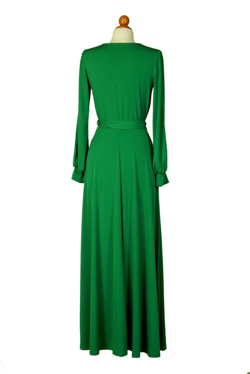 Green Long Split Cuff Sleeve Maxi Wrap Dress - Red Apparel Online