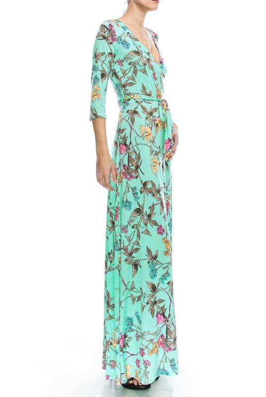 Branch floral in baby blue maxi wrap dress Red Apparel