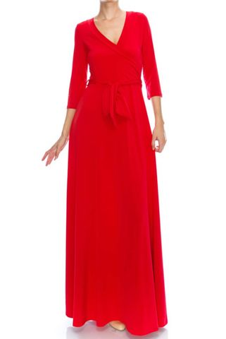 Tomato,red,maxi,wrap,dress,red apparel, Janette fashion, Tomato red maxi wrap dress  , wrap dress