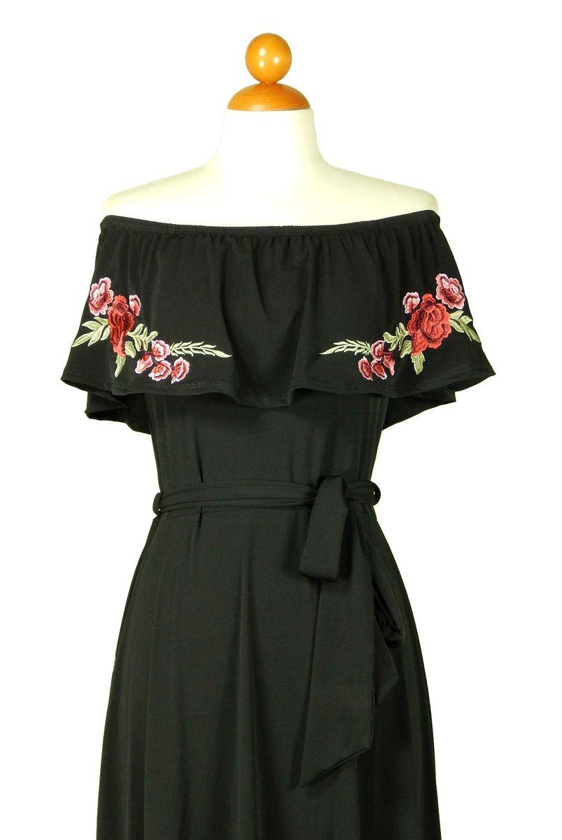Rose embroidered in black off the shoulder maxi dress