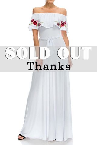 Rose,embroidered,in,white,off,the,shoulder,maxi,dress,red apparel, Janette fashion, Rose embroidered in white off the shoulder maxi dress