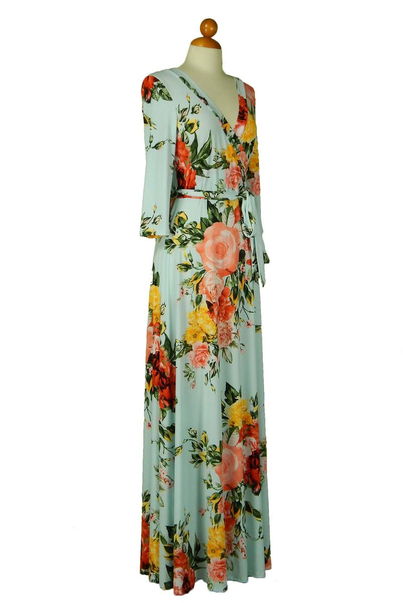 Summer dream in baby blue maxi wrap dress Red Apparel online