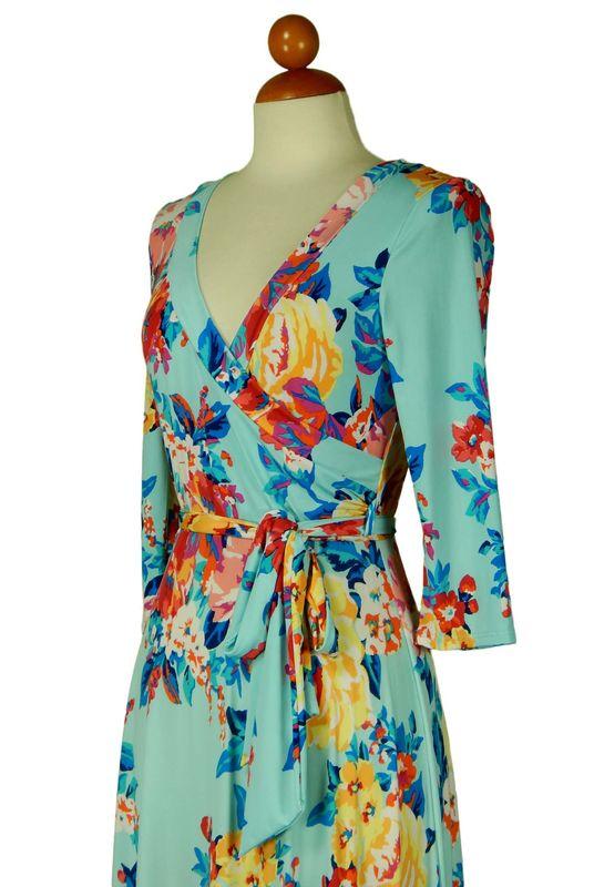 English garden in baby blue maxi wrap dress Red Apparel