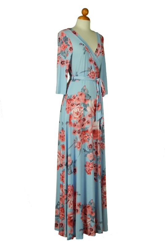 Easy breeze in baby blue maxi wrap dress Red Apparel online