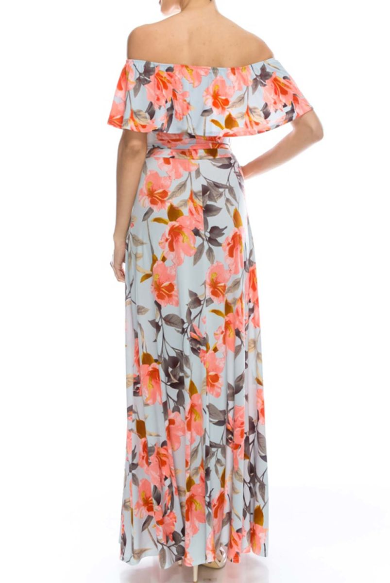 Sweet blooms in baby blue off the shoulder maxi dress