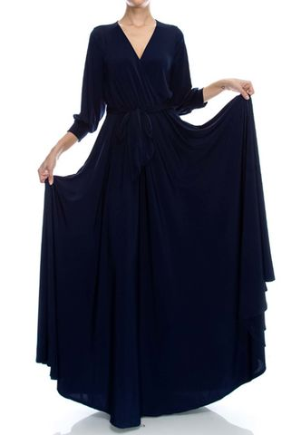 New,navy,3/4,cuff,sleeve,with,large,sweep,maxi,wrap,dress,new navy 3/4 cuff sleeve with large sweep maxi wrap dress, redapparelonline, 6ws, Janette fashion, Janette, Maxi wrap dress, wrap dress, work dress, vacation dress, affordable wrap dress