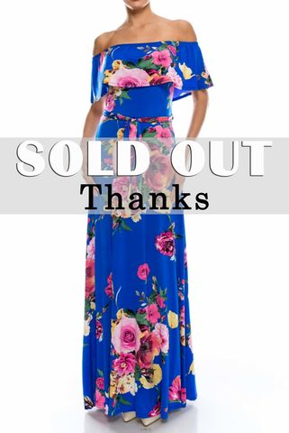 English,garden,blue,pink,off,the,shoulder,maxi,dress,red apparel, Janette fashion, English garden blue pink off the shoulder maxi dress