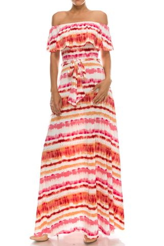 Water,mark,in,sorbet,pink,off,the,shoulder,maxi,dress,red apparel, Water mark in sorbet pink off the shoulder maxi dress