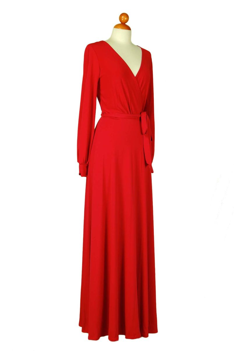 Red Long Split Cuff Sleeve Maxi Wrap Dress - Red Apparel Online
