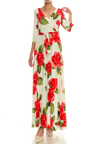 Statement,floral,in,ivory,maxi,wrap,dress,red apparel, Janette fashion, Janette, Statement floral in ivory maxi wrap dress, wrap dress