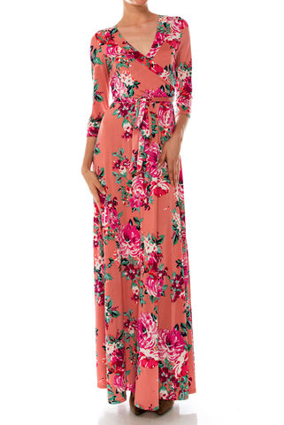 Shanon,floral,in,indian,pink,maxi,wrap,dress,Shanon floral in indian pink maxi wrap dress  , redapparelonline, 6ws, Janette fashion, Janette, Maxi wrap dress, wrap dress, work dress, vacation dress, affordable wrap dress