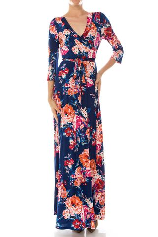 Shanon,floral,in,navy,maxi,wrap,dress,Shanon floral in navy maxi wrap dress  , redapparelonline, 6ws, Janette fashion, Janette, Maxi wrap dress, wrap dress, work dress, vacation dress, affordable wrap dress