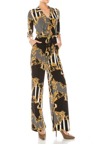 Versace,print,with,black,white,pinstripes,jump,suit,Versace print with black white pinstripes jump suit , red apparel, janette fashion, Janette fashion jumpsuit, Janette jumpsuitjamper