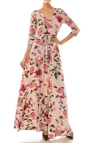 Magnolia,garden,in,pink,maxi,wrap,dress,Magnolia garden in pink maxi wrap dress , redapparelonline, 6ws, Janette fashion, Janette, Maxi wrap dress, wrap dress, work dress, vacation dress, affordable wrap dress