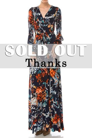 Vera,floral,in,navy,long,split,cuff,sleeve,maxi,wrap,dress,red apparel, Vera floral in navy long split cuff sleeve maxi wrap dress  , wrap dress