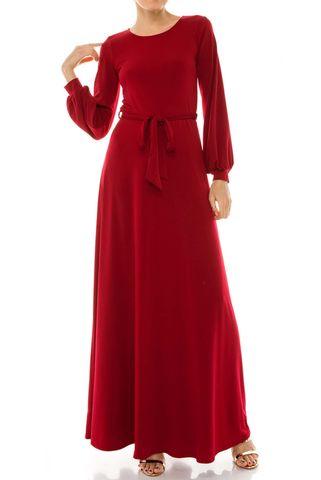 Burgundy,round,neck,long,cuff,sleeve,maxi,dress,red apparel, Janette fashion, Janette, Burgundy round neck long cuff sleeve maxi dress
