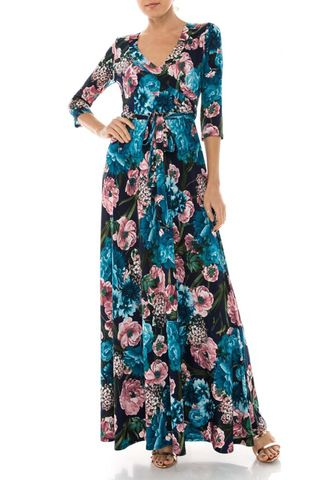 Romantic,floral,in,ocean,blue,maxi,wrap,dress,Romantic floral in ocean blue maxi wrap dress  , redapparelonline, 6ws, Janette fashion, Janette, Maxi wrap dress, wrap dress, work dress, vacation dress, affordable wrap dress