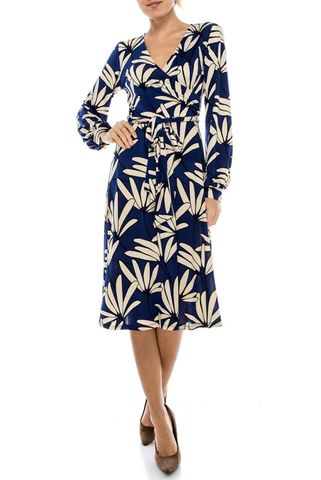 Petals,in,blue,long,closed,cuff,sleeve,wrap,dress,Petals in blue long closed cuff sleeve wrap dress, janette fashion, Janette fashion wrap dress, Janette wrap dress, wrap dress, work dress, vacation dress