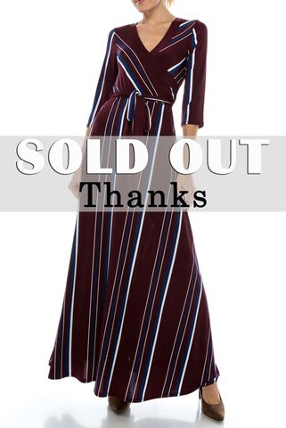 Blue,white,stripes,in,maroon,maxi,wrap,dress,red apparel, Janette fashion, Janette, Blue white stripes in maroon maxi wrap dress, wrap dress