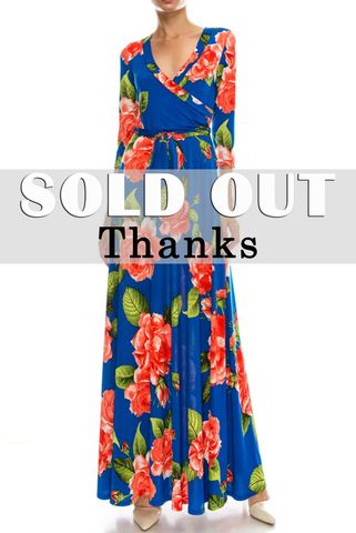 Statement,floral,in,blue,maxi,wrap,dress,red apparel, Janette fashion, Janette, Statement floral in blue maxi wrap dress, wrap dress