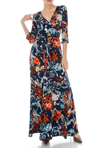 Persian,in,navy,maxi,wrap,dress,red apparel, Janette fashion, Janette, Persian in navy maxi wrap dress, wrap dress