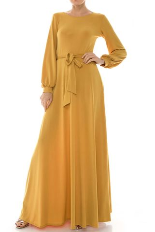Mustard,round,neck,long,cuff,sleeve,maxi,dress,red apparel, Janette fashion, Janette, Mustard round neck long cuff sleeve maxi dress