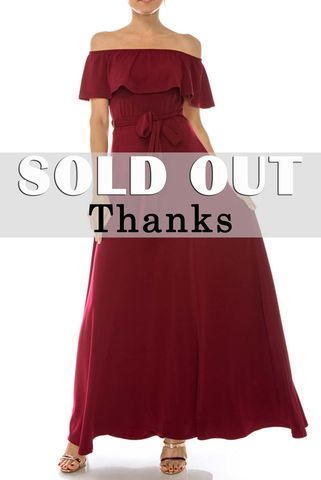 Burgundy,off,the,shoulder,maxi,dress,red apparel, Janette fashion, Janette,Burgundy off the shoulder maxi dress