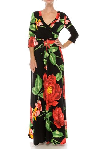 Big,camellia,in,black,maxi,wrap,dress,red apparel, Janette fashion, Janette, Big camellia in black maxi wrap dress, wrap dress