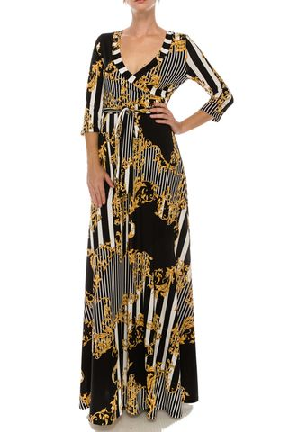 Versace,print,with,black,white,pinstripes,maxi,wrap,dress,red apparel, Janette fashion, Janette, Versace print with black white pinstripes maxi wrap dress, wrap dress
