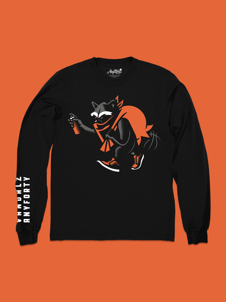 AnyForty x VanilaBCN - Vandalz Mascot Long Sleeve Tee - Black - product image