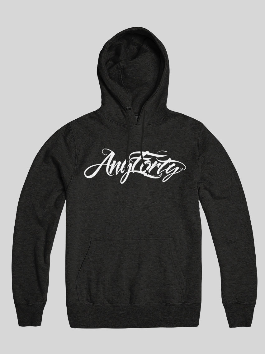 AnyForty Idents - Hydro Script - Black Pullover Hoody - product image