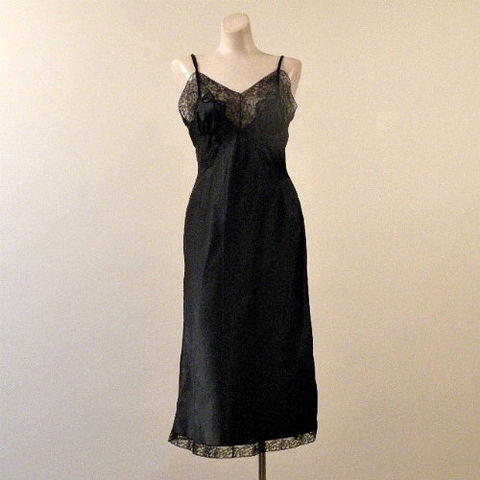 50s,Barbizon,Black,Satin,Slip,38b,1950s, 50s, vintage, lingerie, slip, full, Barbizon, Satin, Sylfaire, bias, black, lacy, appliques, slinky, glamour