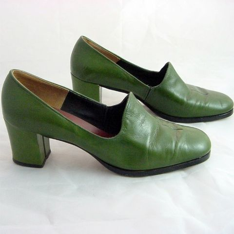 70s,Green,Andiamo,Pumps,High,Heel,Shoes,8AA,Vintage, Accessories, Shoes, green, Andiamo, made_in_USA, leather, pumps, loafers, platform, chunky, 70s, casual, career, vfg, man_made, 1970s, high heels, prettysweetvintage, sweetiepievintage, sweetie pie vintage