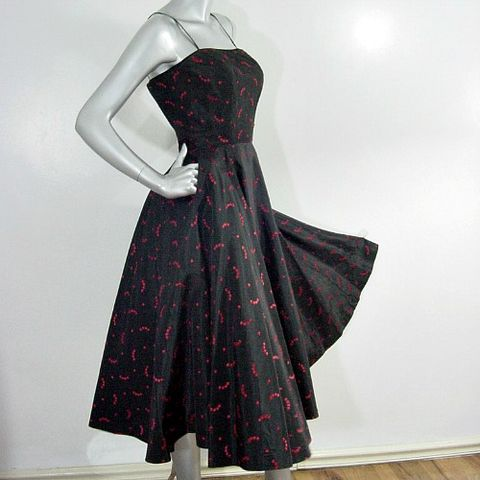 50s,Cherries,Full,Skirt,Frances,Prisco,Party,Dress,XS,30b,Vintage,Clothing,vintage,dress,frances_prisco,full_skirt,taffeta,black,cherries,party,velvet,embroidered,bones,1950s,vfg,acetate,embroidery,metal_zipper, prettysweetvintage, sweetiepievintage, sweetie pie vintage