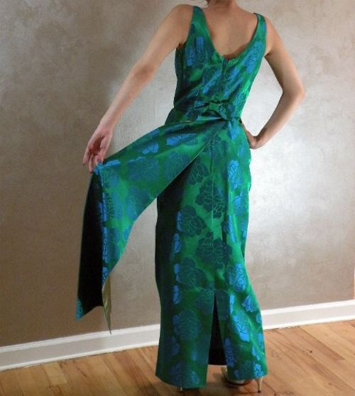 60s Trude Jr Emerald Green Peacock Satin Evening Dress    34b/25w - product image