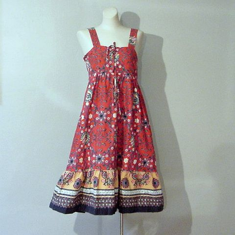 70s,Marrakesh,Summer,Dress,Small,Vintage,Clothing,sears_jr_bazaar,batik,hippie,boho,bohemian,empire,summer,sun,1970s,flouncy,vfg,cotton,polyester_zipper, prettysweetvintage, sweetiepievintage, sweetie pie vintage