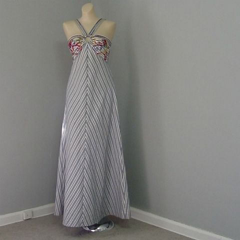 70s,Carnivale,Halter,Maxi,Dress,32b,Vintage,Clothing,maxi,long,denim,stripes,chevron,soutache,rhinestones,multi_colored,carnival,festival,halter,summer,vfg,cotton,polyester_zipper, prettysweetvintage, sweetiepievintage, sweetie pie vintage