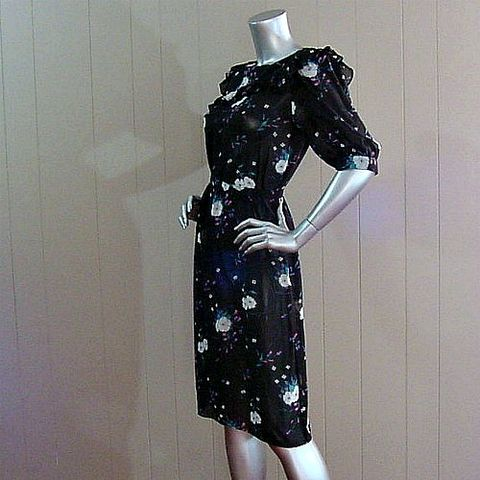 80s,Black,Floral,Charlee,Allison,Dress,38b,Vintage,Clothing,charlee_allison,sheer,chiffon,puffs,ruffled,bib,floral,black,tunic,belt,1980s_80s,vfg,polyester,plastic_buttons, pretty sweet vintage, sweetiepievintage, sweetie pie vintage