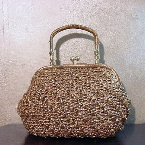 SUPER,SALE!,60s,Brown,Raffia,Dayne,Taylor,Handbag,Vintage,Bags_and_Purses,Dayne_Taylor,purse,bag,handag,raffia,gold,cinnamon,brown,kiss,straw,Japan,vfg,metal,cotton, queensofbohemia