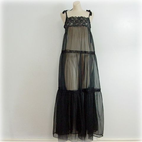 70s,Fluffy,Sheer,Gown,Nightgown,S,or,M,vintage,clothing,lingerie,black,sheer,chiffon,lace,1970s,sexy,full,long,peekaboo,vfg_member_team,nylon, pretty sweet vintage, sweetiepievintage, sweetie pie vintage