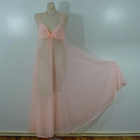 Sexiest,Sheerest,Peach,Full,Sweep,Gown,Nightgown,70s,Vintage,Large,vintage,clothing,lingerie,gown,nightgown,peach,sheer,transparent,sexy,1970s,made_in_california,nylon, sweetiepievintage, sweetie pie vintage, prettysweetvintage, pleasurequeen