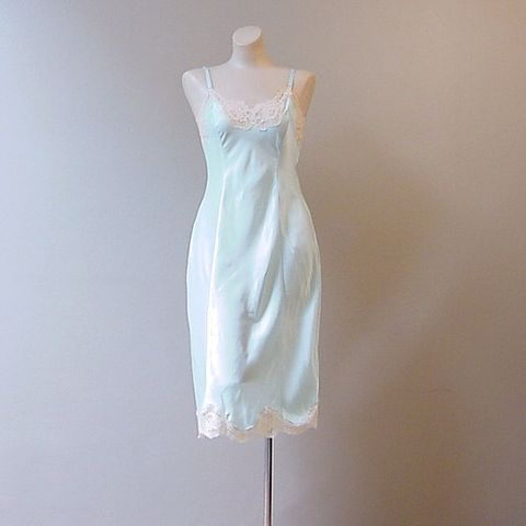 70s,80s,Aqua,Wonder,Maid,Full,Slip,34,Bust,Vintage,Clothing,Lingerie,satin,satin_remarque,nylon,rayon,Wonder_Maid,lace,aqua,ivory,slip,full_slip,vfg,metal_sliders, pretty sweet vintage, sweetiepievintage, sweetie pie vintage, pleasurequeen