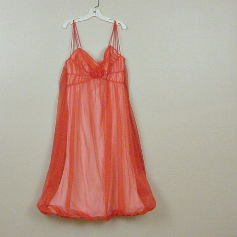 50s,Rogers,Red,Bubble,Hem,Gown,XS,Vintage,Clothing,Lingerie,gown,nightgown,red,lipstick_red,pink,chiffon,bubble_hem,puffed,sheer,sexy,rogers,vfg,nylon, pleasurequeen, queensofbohemia