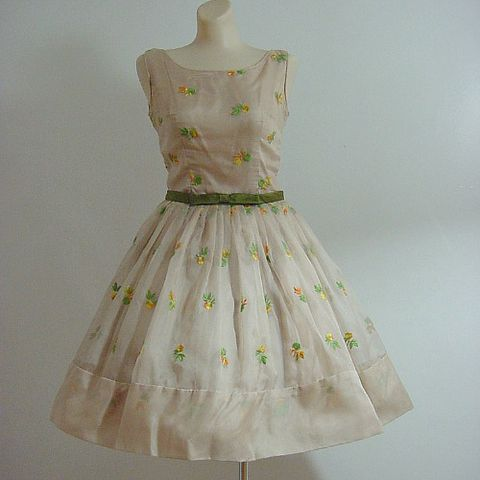 60s,Summer,Romance,Full,Skirt,Party,Dress,35b/26w,1950s, 50s, 60s, 1960s, vintage, mad men, frock, sheer, crisp, organza, taffeta, embroidered, flowers, satin, bow, metal zipper, party, prom, full skirt, prettysweetvintage, sweetiepievintage, sweetie pie vintage