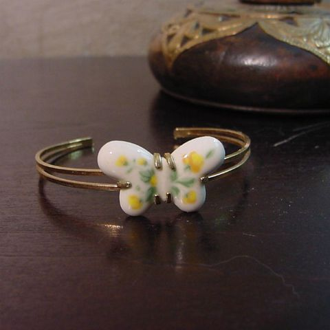 70s,Spring,is,Here,Bracelet,1970s, 70s, vintage, retro, bracelet, bangle, cuff, butterfly, ceramic, porcelain, enamel, roses, gold, hippie, boho, prettysweetvintage, sweetiepievintage, sweetie pie vintage